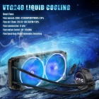 VTG240 Fan Liquid Freezer Water Liquid Cooling System CPU Cooler Fluid Dynamic Bearing 120mm Dual Fans with Blue LED Light Black