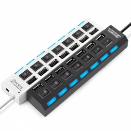 Micro USB Hub 2.0 7 Port Hub USB mit ON / OFF Schalter USB Splitter Adapter High-Speed ​​Peripherie Zubehör für Tablet Laptop weiß