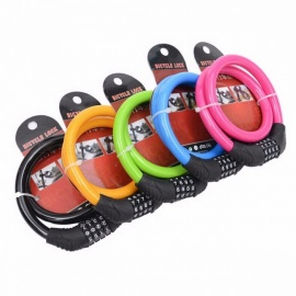 Bike Bicycle Five Colour 4 Digit Combination Password Cycling Security Bike Bicycle Cable Steel Wire Chain Lock Black