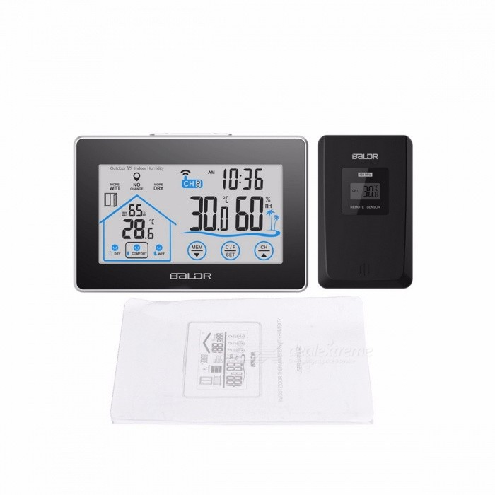 Indoor Outdoor Weather Station Temperature Humidity Meter Sensor Hygrometer Thermometer Wireless Touch LCD Digital Clock