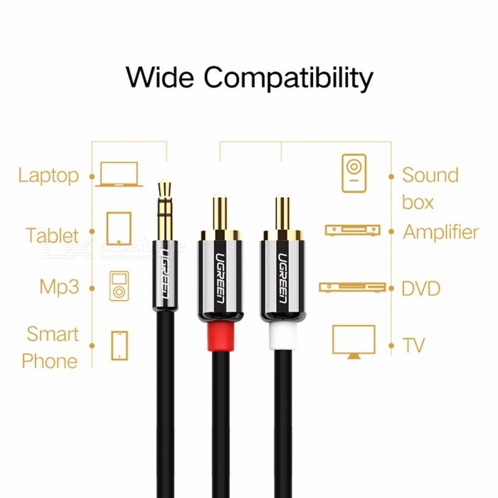 Ugreen RCA Cable 2 RCA to 3.5mm Audio Cable Male to Male Audio Aux Cable for Amplifier Phone Edifer Home Theater DVD