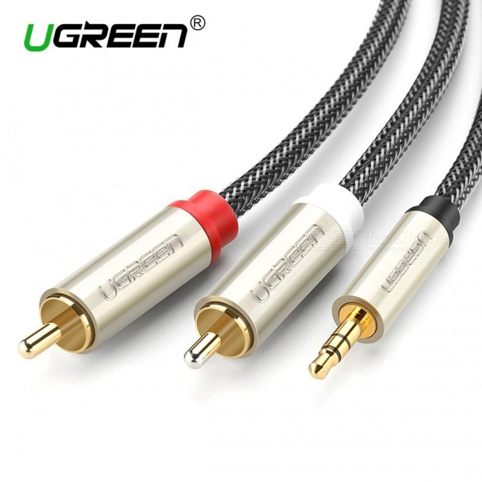 Ugreen 2 RCA Male to 3.5mm Jack Audio Cable AUX Cable Nylon Braided ...