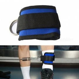 D-ring Fitness Ankle Anchor Strap Belt Multi Gym Cable Attachment Thigh Leg Pulley Strap Lifting Exercise Training Equipment blue