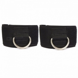 D-ring Fitness Ankle Anchor Strap Belt Multi Gym Cable Attachment Thigh Leg Pulley Strap Lifting Exercise Training Belt - 2PCS Black
