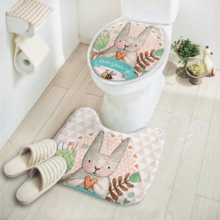 Cute Cartoon Rabbit Animal Pattern Bathroom Set Carpet Absorbent Non-Slip Pedestal Rug Lid Toilet Cover Bath Mat - 2PCS tuzizihuaBathroom Gadgets<br>DescriptionStyle: ModernApplication: BathroomFeature: Stocked,Eco-FriendlyTechnics: Machine MadeMaterial: MicrofiberPattern: CartoonSize: Other<br>