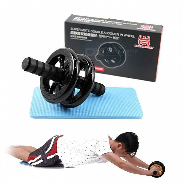 Fitness Abdominal Wheel Ab Rollers CrossFit Exercise with Mat No Noise Professional Muscle Training Equipment
