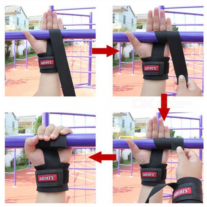 1 Pair Weight Lifting Sports Wristband, Gym Fitness Wrist Thumb Support Straps Wraps Bandage, Training Safety Hand Bands