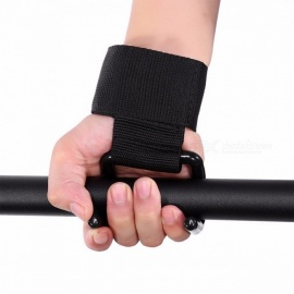 Gym Fitness Anti-skid Wristband WeightLifting Hook Gloves Weight Lifting Gloves Hook Grip Wrist Support Power Clasp Strap Black