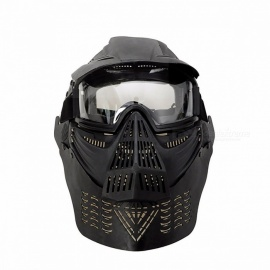 WoSporT Premium Durable Military Full Face Paintball Mask, Army Tactical War Game Protection Face Mask Goggles BK