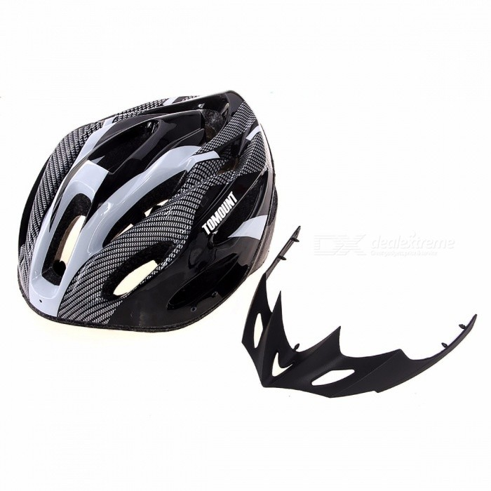 Unisex Adults Road MTB Bike Helmet with Safety Visor, Adjustable Strap for Mountain Racing Bicycle Cycling Sports BlackHelmets<br>Description<br><br><br><br><br>Air Vents: 8 - 15<br><br><br>Certification: CE<br><br><br><br><br>Material: EPS<br><br><br>Brand Name: TOMOUNT<br><br><br><br><br>Type: Ultralight Helmet<br><br><br>Age Group: (Adults) Men<br><br><br><br><br><br><br><br><br>Helmet Body: Use ONE STEP technology <br><br><br>Inner Structure: Premium foaming layer and a Regulator to adjust the head circumference <br><br><br>Features: Portable ultralight material and the design of wind-tunnel <br><br><br>head circumference : no more than 65cm <br><br><br>head breadth : no more than 16cm <br><br><br>type: Bike Helmet <br><br><br>name: cycling helmet <br><br><br><br><br><br><br>Lightweight, easy to remove <br>Protect your face against branches, mud, sun and rain <br>All-in-one design, PC and silk-screen cover and EPS body which is resistant to shock and healthy <br>Hot-pressing lining with mesh, which is eco-friendly, buffering and sweat-absorbent <br>It is equipped with a regulator which can adjust the size according to your head circumference <br>For riding, skating, hoverboard,skateboards, etc. <br>Dimension: 27 x 21 x 12 cm (Suitable for those with a head circumference no more than 65cm and head breadth no more than 16cm)<br>
