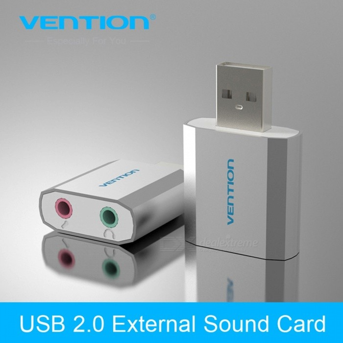Vention Portable Lightweight Free Drive USB 2.0 External Computer Audio Sound Card for Windows, Linux, Mac