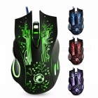 Professional 6-Button Wired Gaming Mouse w/ Changeable Light for PC Laptop Computer, 5000DPI USB Gamer Optical Mouse Mice  Black