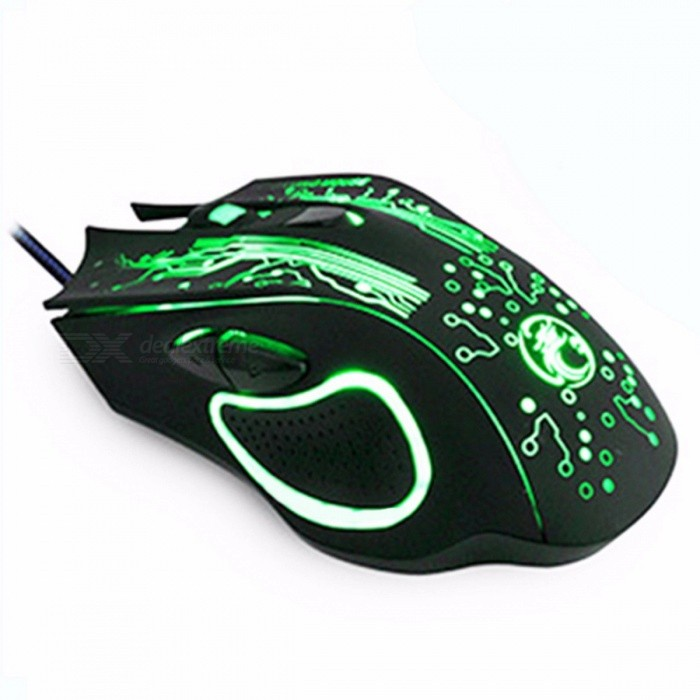 Professional 6-Button Wired Gaming Mouse w/ Changeable Light for PC Laptop Computer, 5000DPI USB Gamer Optical Mouse Mice