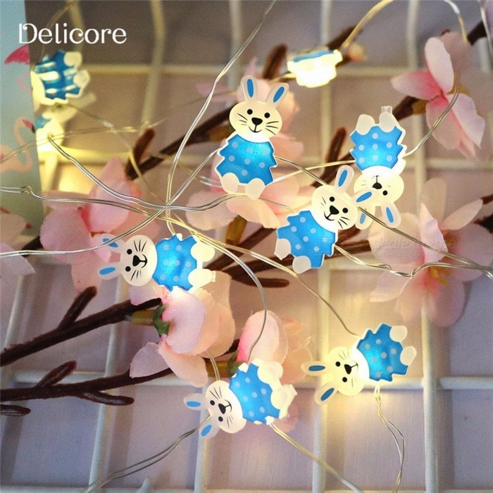 DELICORE S144 2m 20-LED Battery Operated Rabbit Shape LED Fairy String Lights for Holiday Party Decoration Lighting