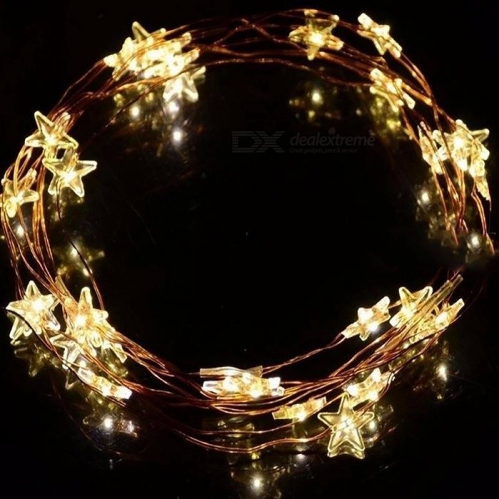 Battery Operated 30-LED 10ft 3m Long Silver Color Copper Wire Star Fairy Lights for Outdoor Indoor Xmas Party Use