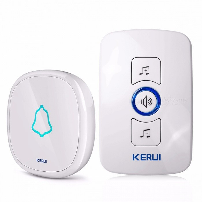 KERUI Waterproof Touch Button Smart Home Welcome Door Bell Alarm Intelligent Wireless Doorbell 32 Songs OptionalDoorbells<br>Form  ColorKIT1Quantity1 setBattery included or notNoPower AdapterOthers,;Transmission MethodWirelessIR Night VisionNoForm  ColorKIT1Packing ListDoorbell Receiver  * 1 Doorbell Transmitter *1 User Manual  *1<br>