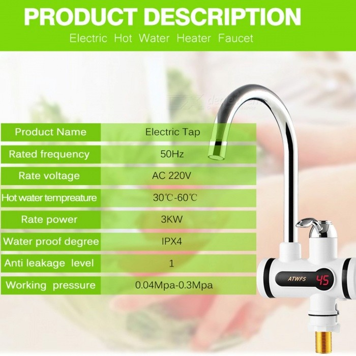 ATWFS Kitchen Electric Water Heater Tap Instant Hot Water Faucet ...