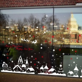 DIY Christmas Wall Stickers White Snow Town Window Glass Festival Decals Murals Christmas Decorations for Home Store Multi