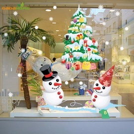 Christmas Window Wall Sticker Decorative Snowman Charismatics Tree for Home Shop Store Supermarket Deocration