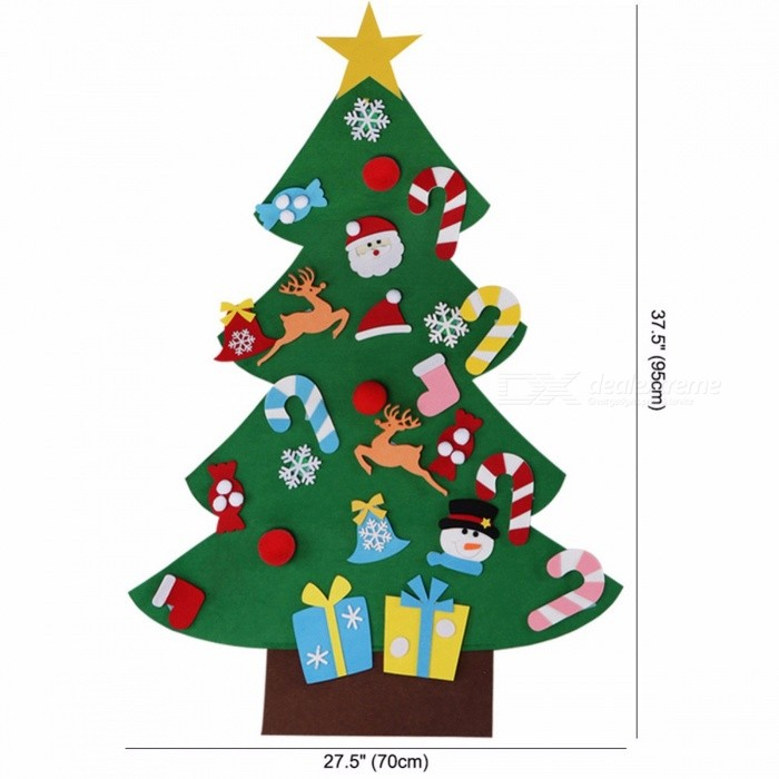 Kids DIY Felt Christmas Tree with Ornaments Special Children Christmas Gifts for 2018 New Year Door Wall Hanging Xmas Decoration