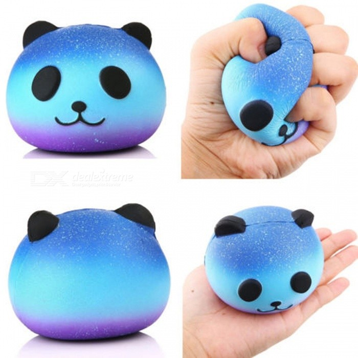 Cute Blue Color Panda Cream Scented Squishy Slow Rising Squeeze Toy Charm Gift for Adults Kids Children