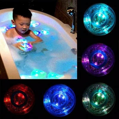 Fashion LED Bath Light Toy Tub Toy Bath Water LED Light Kids Children Funny Time Light-Up Toy Party Waterproof Light Silver