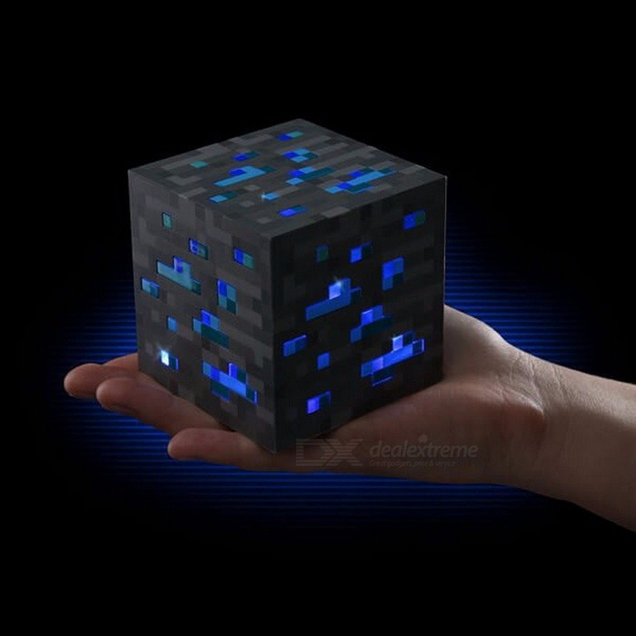 New Minecraft Light Up LED Toy, Redstone Diamond Ore Square Night Light LED Figure Toy for Kids Gifts