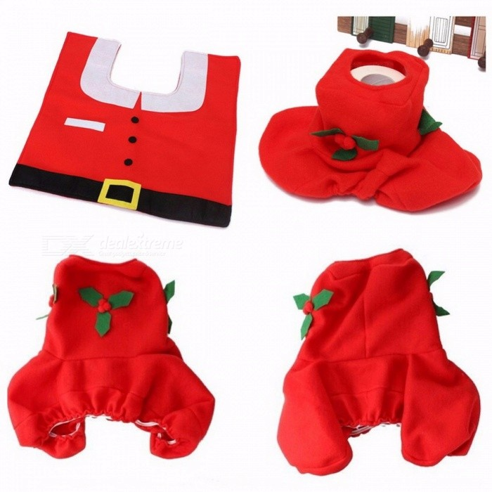 Home Toilet Seat Cover Christmas Decoration Paper Rug Bathroom Set Christmas Ornaments Santa Claus New Year Decor 3PCS