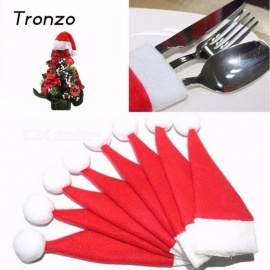 Tronzo 10Pcs/Lot 6 x 12cm Mini Christmas Silverware Holder, Xmas Tree Santa Claus Hat for Home Navidad Christmas Decoration Red