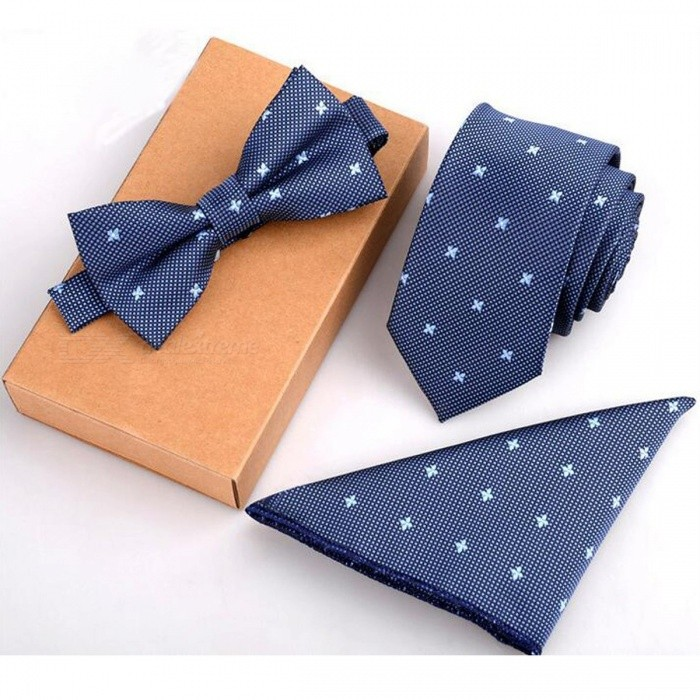GUSLESON 3PCS Slim Tie Set Men Bow Tie and Handkerchief Bowtie Necktie Cravate Homme Noeud Papillon Man Corbatas Hombre Pajarita GreenAccessories<br>DescriptionItem Type: TiesBrand Name: GUSLESONDepartment Name: AdultStyle: FashionTies Type: Neck Tie SetGender: MenSize: One SizePattern Type: GeometricMaterial: Polyester<br>