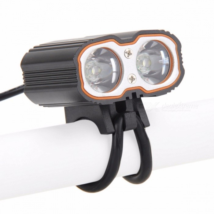 Bike Bicycle Handlebar Headlight Front Light 2-LED XM-L T6 USB Rechargeable Waterproof Lamp Aluminum Alloy Headlamp