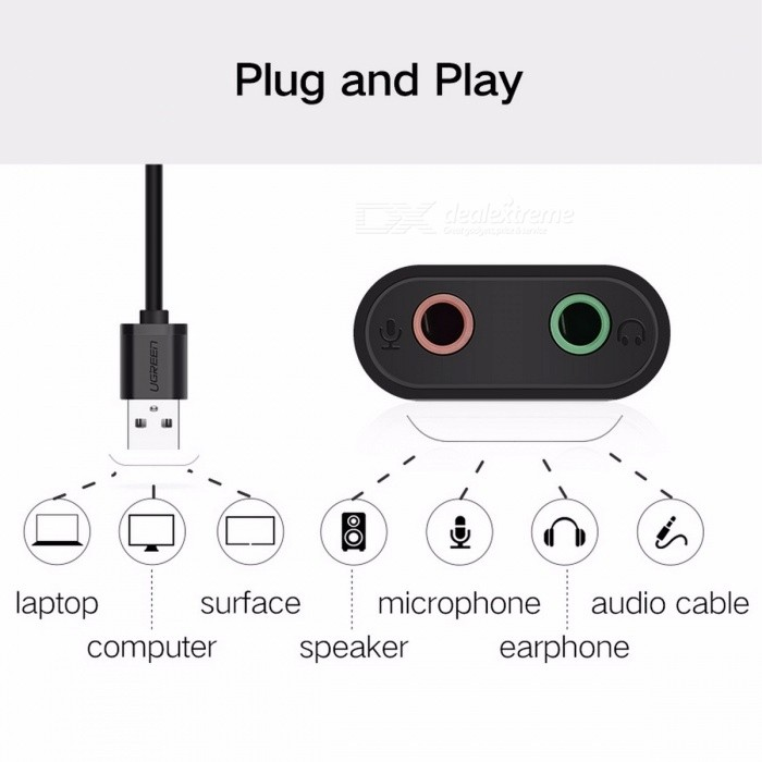 Ugreen External Sound Card 3.5mm USB Adapter Audio Card USB to 3.5mm Jack Earphone Micphone Sound Card for Computer USB Sound