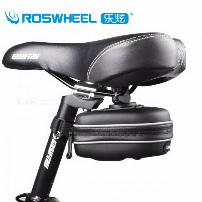 ROSWHEEL Portable Waterproof Bicycle Saddle Bag, Seat Post Storage Tail Pouch, Cycling Road Bike Rear Pannier