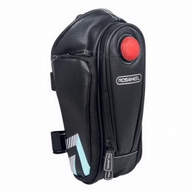 ROSWHEEL Bike Tail Bag Seatpost Pouch, Bicycle Saddle Seat Post Storage Bag, Cycling MTB Road Rear Pannier to Hold Water Bottle Black Blue