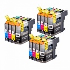 LC223 LC221 Compatible Ink Cartridge For Brother MFC-J4420DW/J4620DW/J4625DWJ480DW/J680DW/J880DW Printer (With Chip 12Pcs) BK/M/C/Y