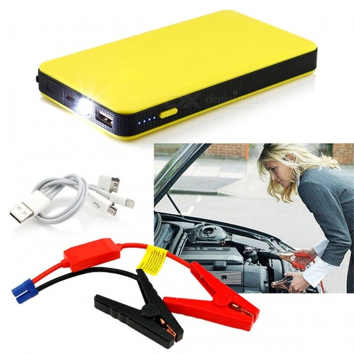 LUNDA New Mini Portable 12V Car Battery Jump Starter, Auto Jumper Engine Power Bank w/ Starting Up to 2.0L