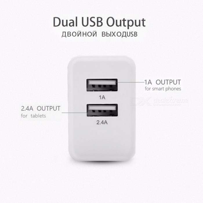 PISEN Universal Dual USB Wall Phone Charger for Phones and Tablets, 1A+2.4A Fast Charging Adapter, 100-240V
