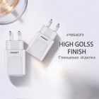 PISEN Universal Dual USB Wall Phone Charger for Phones and Tablets, 1A+2.4A Fast Charging Adapter, 100-240V  White (EU Plug)