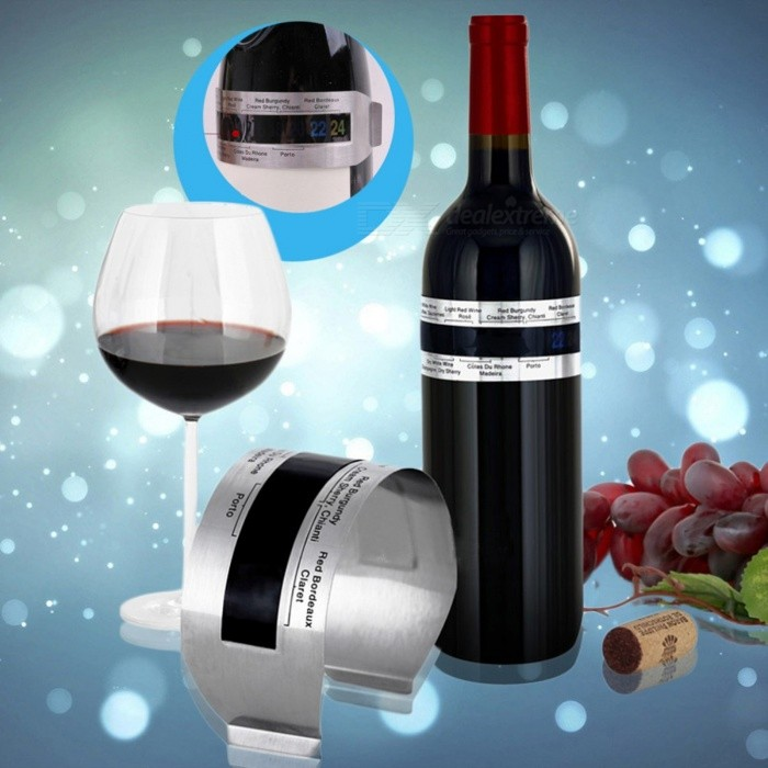 Stainless Steel LCD Electric Red Wine Digital Thermometer, Temperature Meter with 4-24 Centigrade Measurement Range