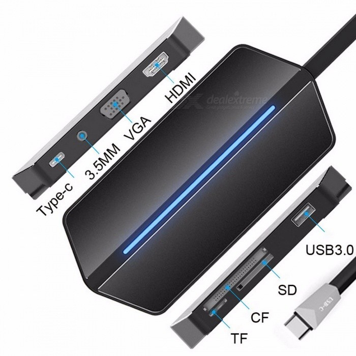EASYA USB3.1 Type-C to VGA HDMI Adapter, 8-In-1 USB-C Hub, Thunderbolt USB3.0 Combo Card Reader w/ 3.5mm Socket for MacBook Pro BlackUSB Hubs &amp; Switches<br>Description<br><br><br><br><br>Package: Yes<br><br><br>Ports: 8<br><br><br><br><br>Interface Type: USB Type-C<br><br><br>Standard: USB 3.1<br><br><br><br><br>Funtion: HDMI/Card Reader<br><br><br>Plug Standard: EU<br><br><br><br><br>Brand Name: EASYA<br><br><br>Length: 12CM<br><br><br><br><br><br><br><br><br>Color: Black <br><br><br>Compatible: For MacBook/MacBook Pro <br><br><br>Fuction 1: USB C Power Delivery charging port <br><br><br>Fuction 2: USB C To Jack 3.5MM <br><br><br>Fuction 3: USB C To HDMI <br><br><br>Fuction 4: USB C To VGA <br><br><br>Fuction 5: USB C To USB 3.0 <br><br><br>Fuction 6: USB C To SD Card <br><br><br>Fuction 7: USB C To TF Card <br><br><br>Fuction 8: USB C To CF Card <br><br><br><br>Specifications:<br>Color: Black<br><br><br>Size: 120*55*17MM<br><br><br>Dropshipping: Support<br><br><br>Wholesale: Support<br><br><br>OEM: Support<br><br><br>Important!<br><br><br>&amp;nbsp;<br><br><br>Charging protocol of this hub is PD protocol,it is not compatible with devices based on QC protocol.<br> Please make sure your computer is based on PD charging protocol. <br><br><br>&amp;nbsp;<br><br><br><br><br><br>&amp;nbsp;<br><br><br>&amp;nbsp;<br><br><br>&amp;nbsp;<br><br><br>Package:<br><br><br>1*USB Type-c Adapter<br>