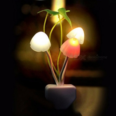 Novelty Fantastic Mushroom Fungus Night Light, Sensor Control 220V 3-LED Colorful Nightlight Wall Lamp EU Plug