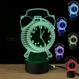 Mini Rechargeable 3D Alarm Clock Pattern Illusion Lamp, Optical LED Night Light, Desk Table Lamp for Baby Bedroom Decoration Multicolor
