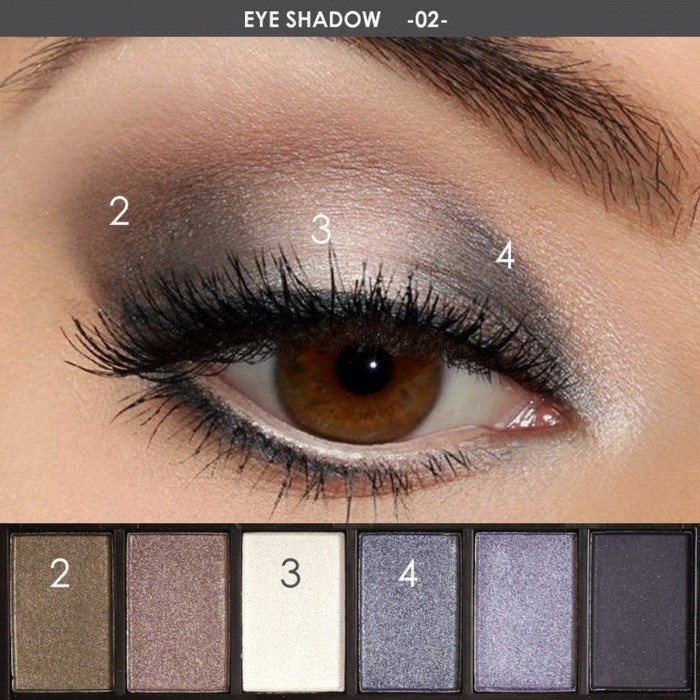 FOCALLURE 6 Colors Cosmetic Eyeshadow Palette Glamorous Smokey Eye Shadow Shimmer Colors Makeup Tool Kit