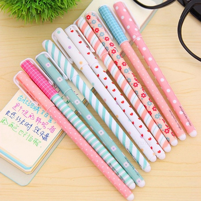 Cute Colorful Gel Pen Flower Print High Quality Pen Stylish Stationery Special Gift for Students - 10PCS 10 PcsGel &amp; Ballpoint Pen<br>DescriptionUse: Office &amp; School PenErasable Or Not: NoMaterial: PlasticGel Pens Ink Type: Gel-InkGel Pens Ink Feature: NormalType: Gel PenWriting Point: Other<br>