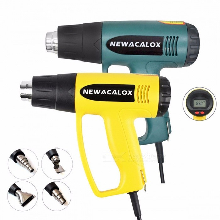 NEWACALOX 2000W 220V Industrial Electric Hot Air Gun Thermoregulator LCD Heat Guns Shrink Wrapping Thermal Heater Nozzle EU Plug yellowDescriptionFeature: Temperature Adjustable,Cool / Hot Air,Temperature Digital DisplayDIY Supplies: Electricalis_customized: YesNo-Load Speed: 1200rpmRated Voltage: 220VBrand Name: newacalox<br>
