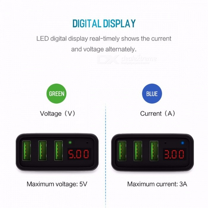 ROCK Universal Mobile Phone USB Charger Fast Charge Wall Charger with 3 USB Ports LED Display for IPHONE Samsung Xiaomi Max 2.4A