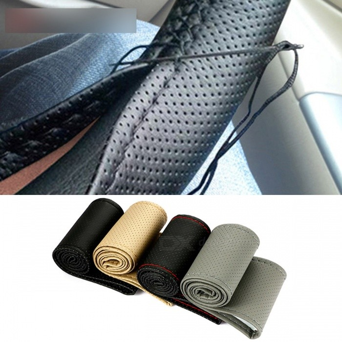 DIY Auto Car Steering Wheel Cover with Needles and Thread Artificial  Leather Car Accessories for 38cm Diameter Black