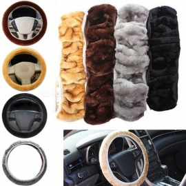 Soft Warm Plush Winter Auto Car Steering Wheel Cover Elastic Universal Protective Cover Cars Accessories Black