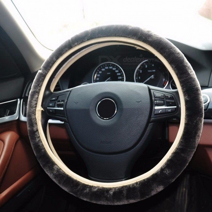 Auto Car Steering Wheel Cover Faux Fur Leather Stylish Steering Wheel Protective Cover Soft and Comfortable GrayOther Interior<br>DescriptionItem Type: Steering Wheels &amp; Steering Wheel HubsExternal Testing Certification: CCBrand Name: rownfur<br>