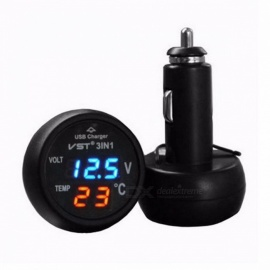 IZTOSS 3-in-1 Digital LED Auto Car Cigarette Lighter Thermometer Voltmeter Car USB Charger 12V/24V Temperature Meter Blue